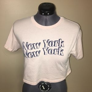 Forever 21 New York Pink Crop Top Small